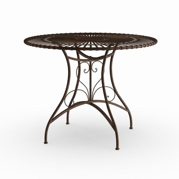 Handmade Rust Patina Rustic Circular Garden Table (China)