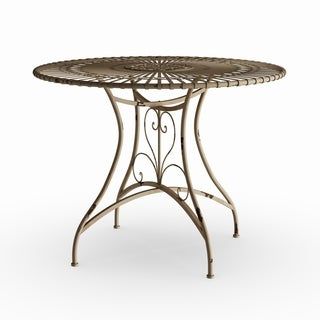 Maison Rouge Mary Handmade Distressed White Rustic Circular Garden Table