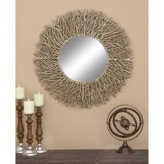Carbon Loft Sumter Decorative Metal/Wood Round Mirror - Grey