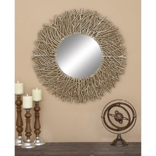 Carbon Loft Sumter Decorative Metal/ Wood Round Mirror