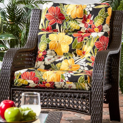 San Elijo Tropical Pattern Outdoor High-back Chair Cushion by Havenside Home - 22w x 44l