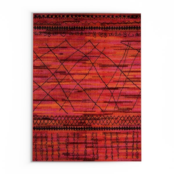 """The Curated Nomad Dogwood Tribal Orange/ Pink Area Rug - 9'9"""" x 12'2"""""""