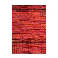 Pine Canopy Aconite Tribal Orange/ Pink Area Rug - 5'3' x 7'6'