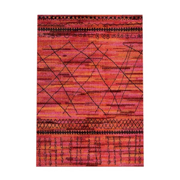 The Curated Nomad Dogwood Tribal Orange/ Pink Area Rug - 4' x 5'9""