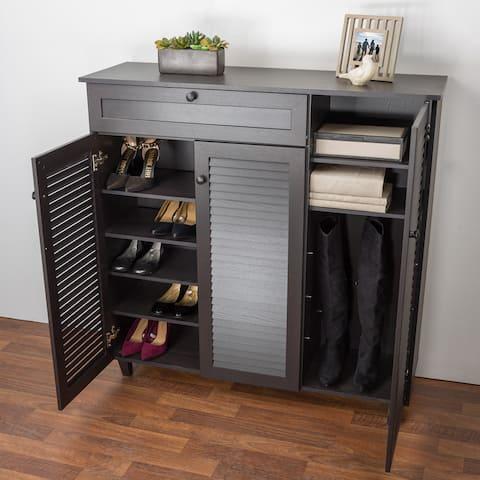 Porch & Den Rocheblave Espresso Wood Shoe Storage Cabinet