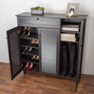 Link to Porch & Den Rocheblave Espresso Wood Shoe Storage Cabinet Similar Items in Media Cabinets