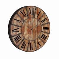 Carbon Loft Reuben 24-inch Round Wood Clock