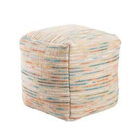 The Curated Nomad Pajaro 18-inch Handmade Pattern Wool Multi Pouf