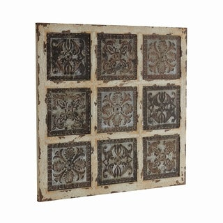 Pine Canopy Gomphrena Distressed Whitewash Wood Wall Plaque