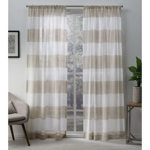 Havenside Home Rohoboth Sheer Linen Curtain Panel Pair with Rod Pocket