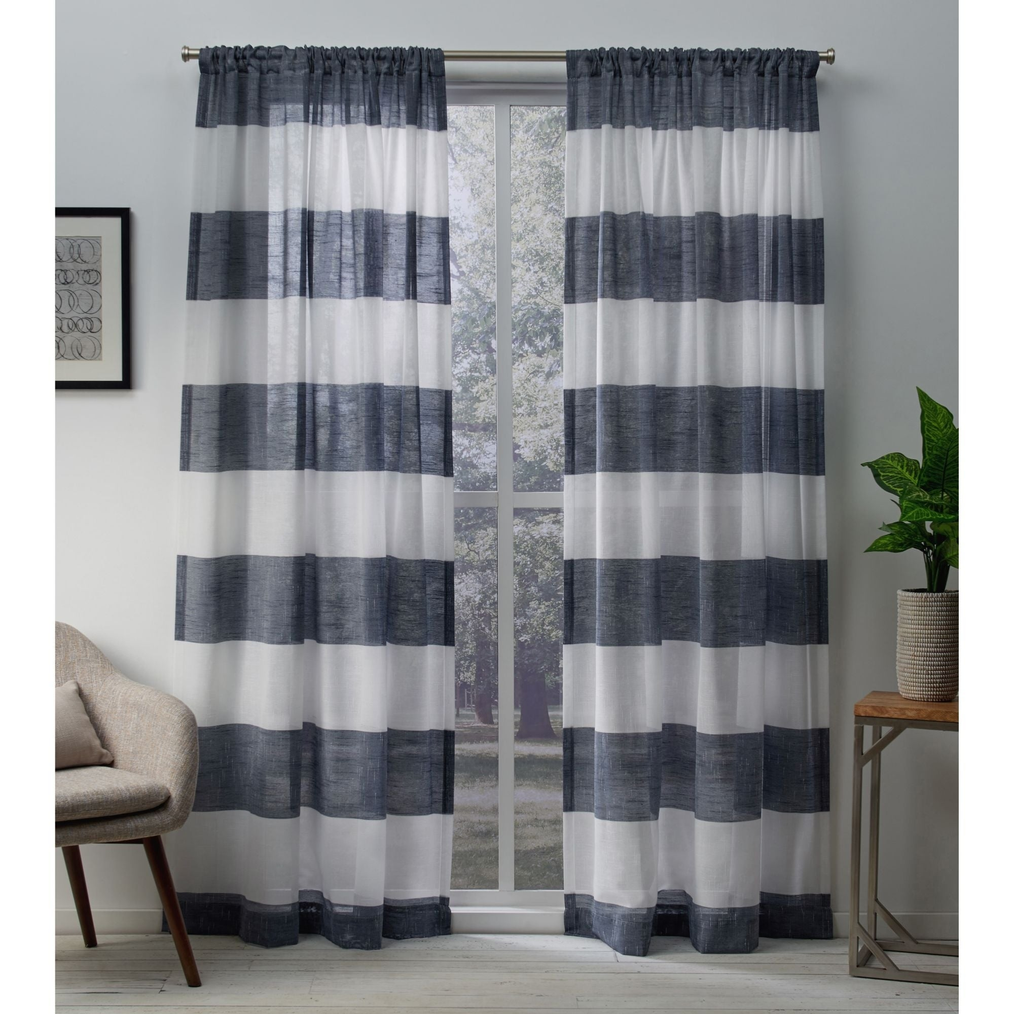 2 panels Rod pocket top...A pair of linen curtain panels...