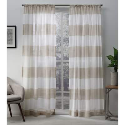 96 Inches Stripe Sheer Curtains