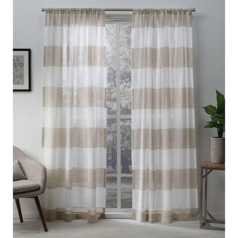 Porch & Den Ocean Sheer Linen Curtain Panel Pair with Rod Pocket