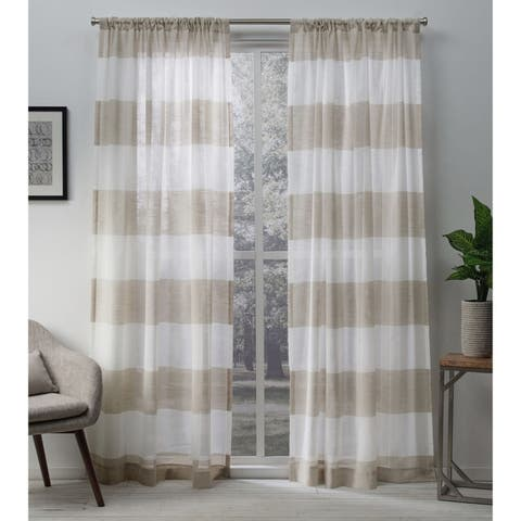 Porch & Den Ocean Sheer Linen Curtain Panel Pair with Rod Pocket
