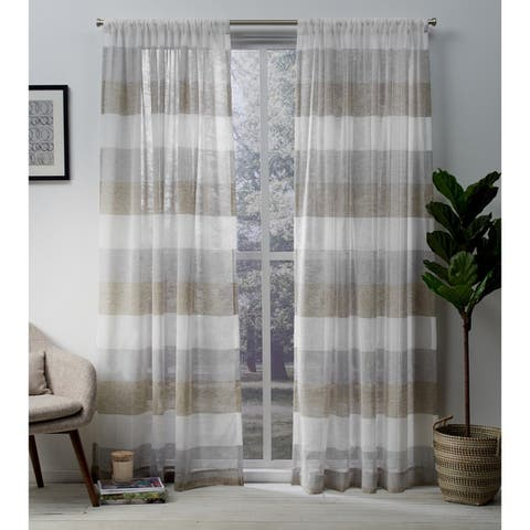 Porch & Den Ocean Stripe Sheer Curtain Panel Pair with Rod Pocket