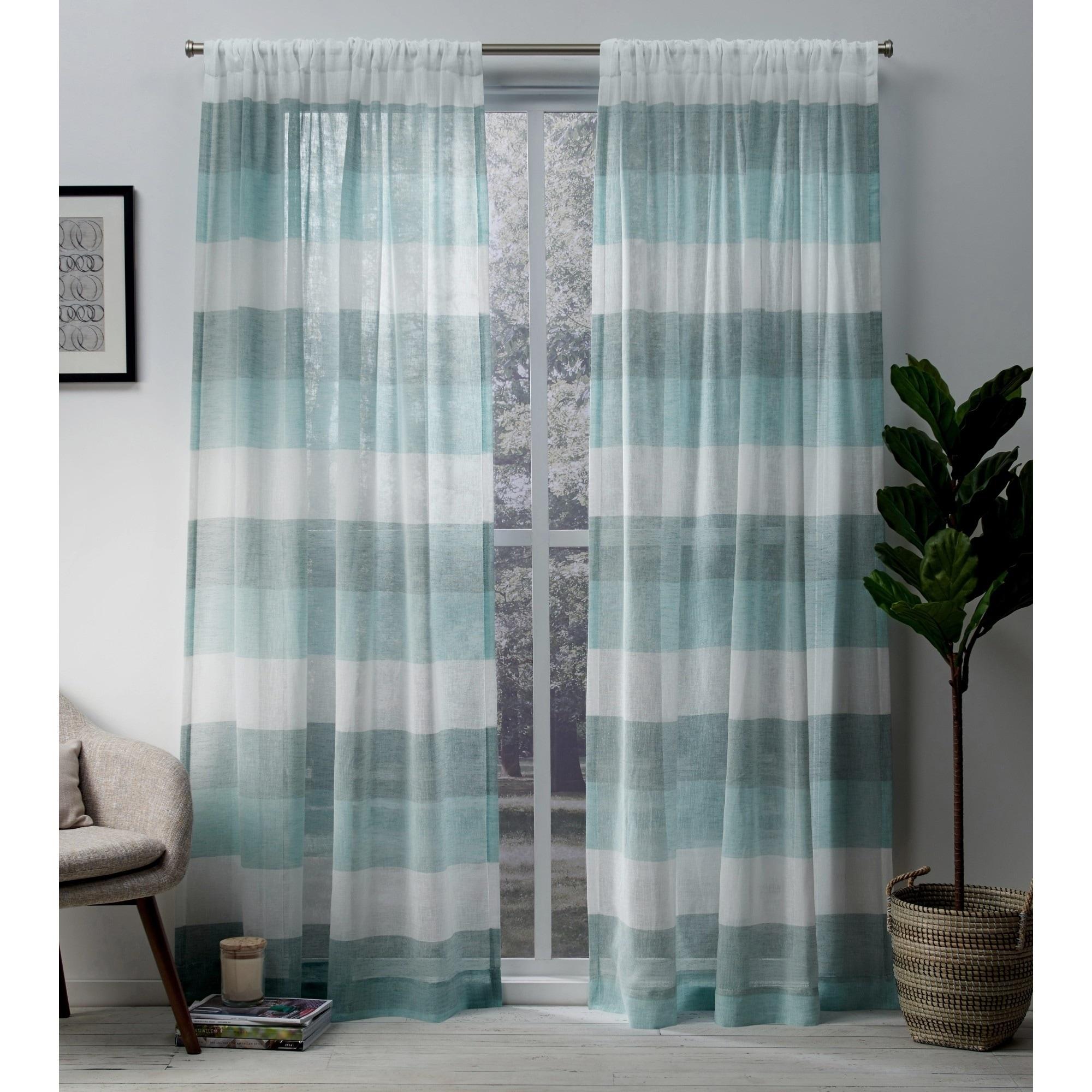 Porch Den Ocean Stripe Sheer Curtain Panel Pair With Rod Pocket