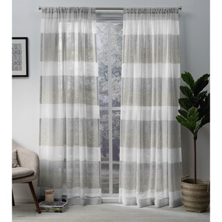 ATI Home Bern Stripe Sheer Curtain Panel Pair with Rod Pocket