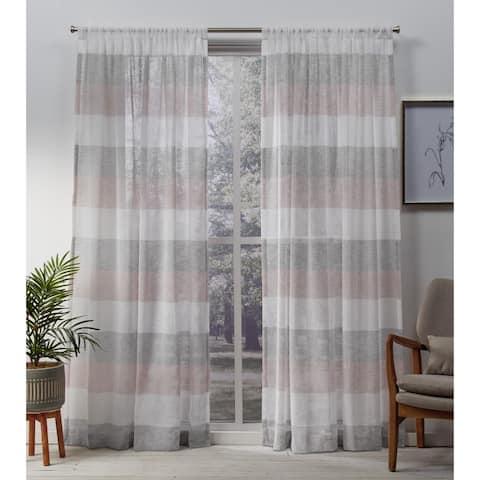 Porch & Den Ocean Stripe Sheer Curtain Panel Pair with Rod Pocket