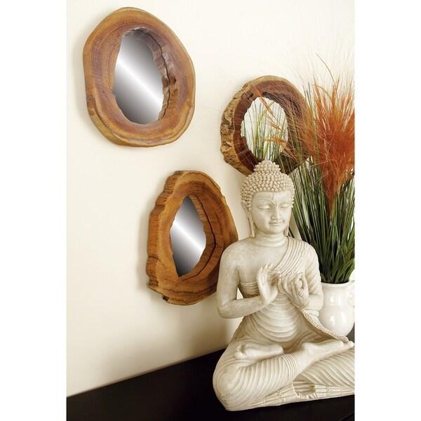 Carbon Loft Priscilla Round Teak Mirror (Set of 4)