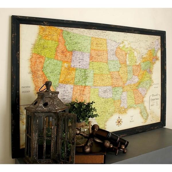 Copper Grove Hyssop Wooden USA Map Wall Decor