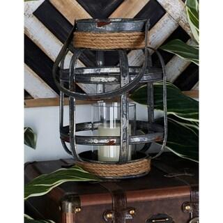 The Gray Barn Dreamweaver Metal Glass Rope Candle Lantern