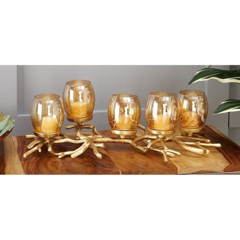 Silver Orchid Murray Aluminum Glass Candle Holder