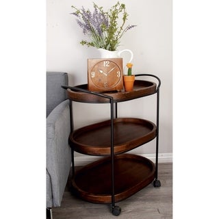 Traditional 30 x 26 Inch Iron and Wood 3 Tiered Bar Cart by Studio 350