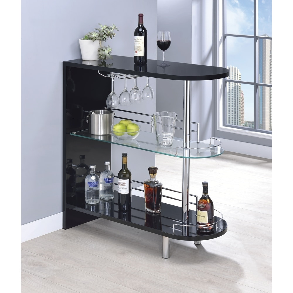 Strick and Bolton  Okada Black Glass and Metal Bar Table - 15.75 inch x 41.25 inch x 39.50 inch (Black - Specialty - 4 Seat)
