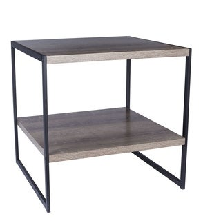 Carbon Loft Morse Distressed Black/Grey Metal/Ashwood End Table