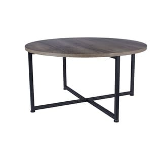 Carbon Loft Cartwright Distressed Ash Grey-finished Laminate Round Coffee Table with Black Metal Frame