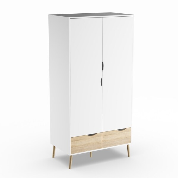 Carson Carrington Kristiansund White/Neutral Wood 2-drawer and 2-door Armoire