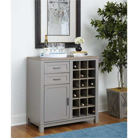 Havenside Home Asilomar Carver Grey/ Sonoma Oak Bar Cabinet