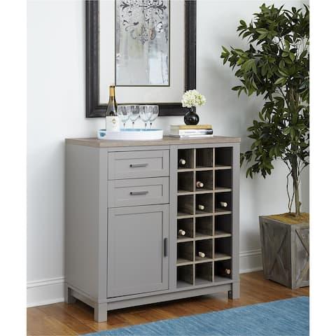 The Gray Barn Bonnie Wood Carver Grey/ Sonoma Oak Bar Cabinet