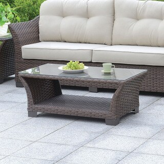Oliver & James Rahl Glass Top Outdoor Coffee Table