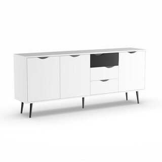 Carson Carrington Kristiansund White and Matte Black 3-drawer 3-door Sideboard