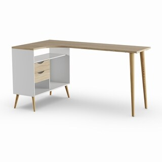 Carson Carrington Kristiansund White and Oak 2-drawer L-shaped Desk