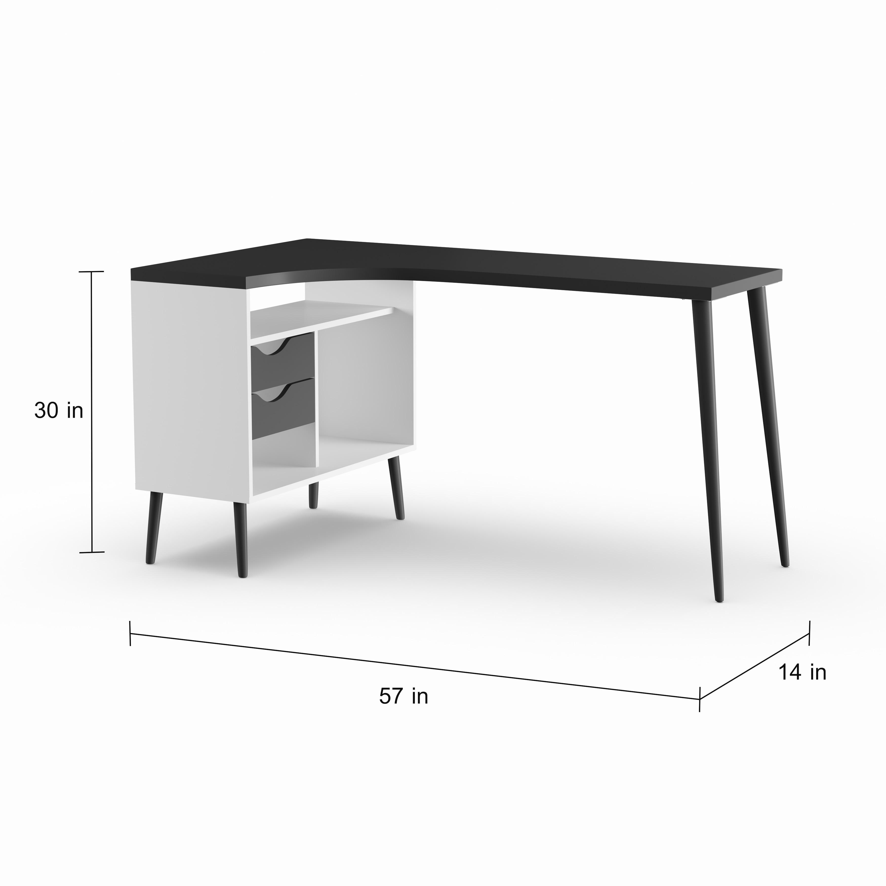 Carson Carrington Kristiansund White And Matte Black 2 Drawer L Shaped Desk Overstock 21490549