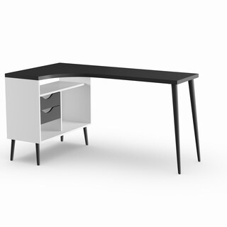 Carson Carrington Kristiansund White and Matte Black 2-drawer L-shaped Desk