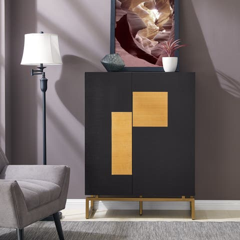 Carson Carrington Hango Black with Natural and Gold Bar Cabinet