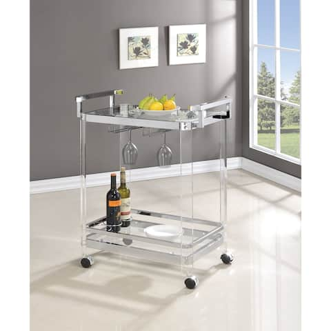 Strick & Bolton Roslin Clear Acrylic and Chrome Serving Cart