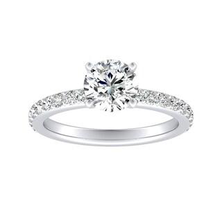 Auriya 14k Gold Classic 1ct Round Moissanite and 1/3ct TDW Diamond Engagement Ring