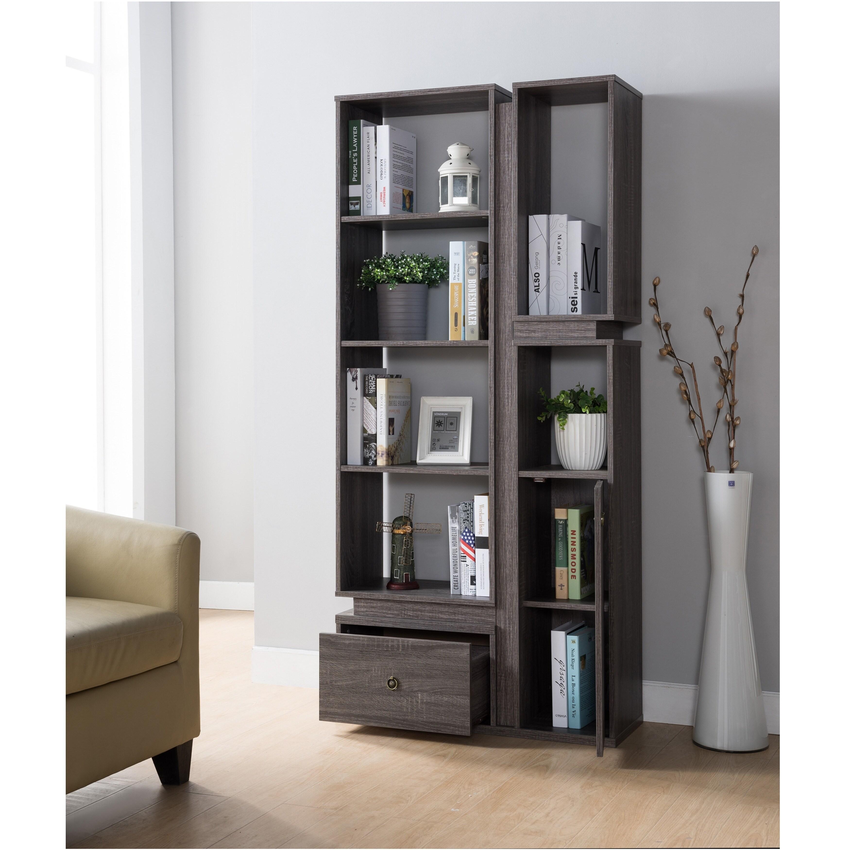 Furniture Of America Vese Contemporary Grey 6 Shelf Bookcase