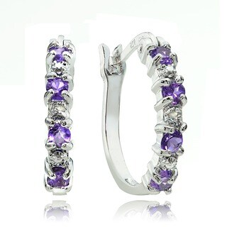Glitzy Rocks Sterling Silver Amethyst Diamond-accent Hoop Earrings