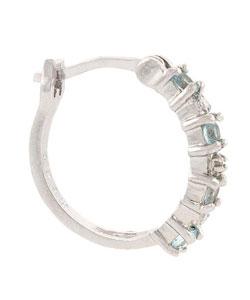 Glitzy Rocks Sterling Silver Diamond Blue Topaz Hoop Earrings - Thumbnail 1