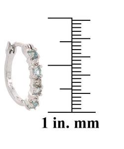 Glitzy Rocks Sterling Silver Diamond Blue Topaz Hoop Earrings - Thumbnail 2