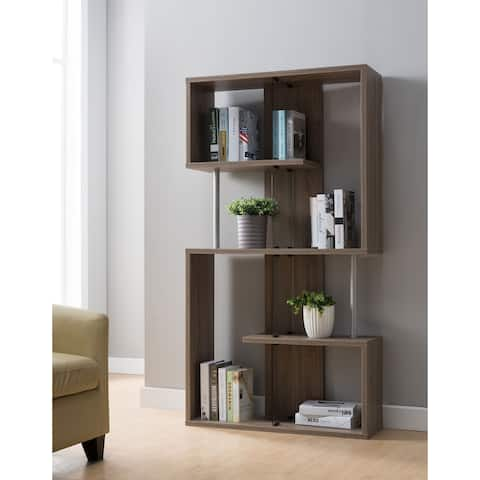 Presidio Contemporary Brown Bookcase with Glass Partitions by FOA