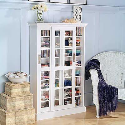 SEI Furniture White Sliding Door Media Cabinet