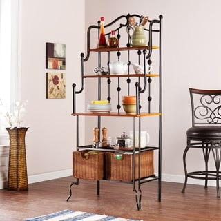 Copper Grove Docherty Black Baker's Rack with Rattan Baskets