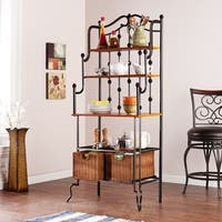 Copper Grove Docherty Black Baker's Rack with Brown Shelves