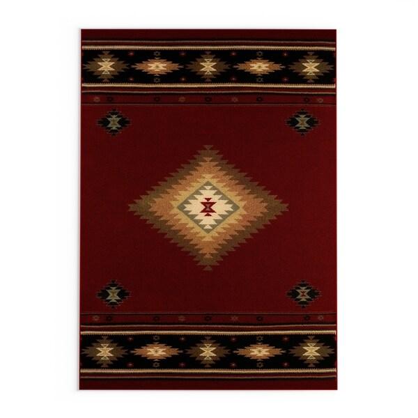Copper Grove Allegheny Southwestern Red/ Black Area Rug - 7'8' x 10'